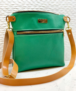 The Double Zip Crossbody - Kelly Green