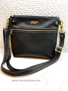 The Double Zip Crossbody - Black