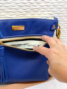 The Double Zip Crossbody - Blue
