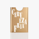 Gold colour aluminum card holder with laser engraving