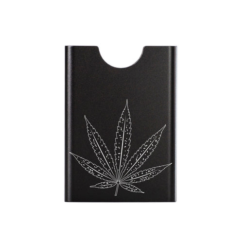 Black Thin King card case with hemp leaf engraving