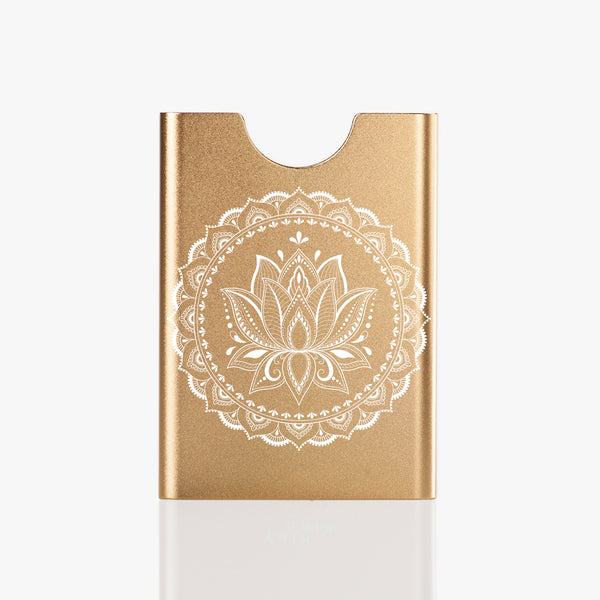 Thin King everyday carry card case in champagne colour with mandala engraving