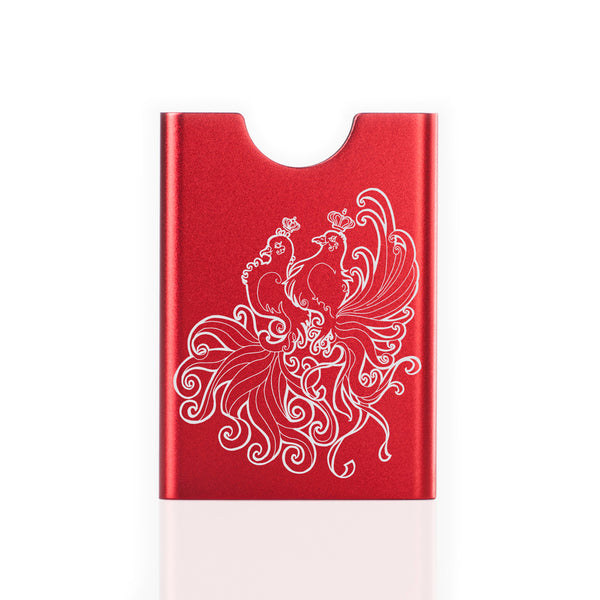 Red Thin King card case with turtle doves engraving