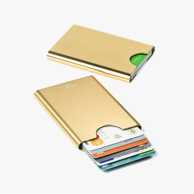 Gold colour Thin King card case that fits 6 cards