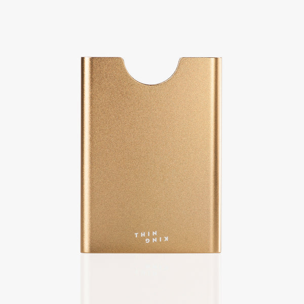 Think King aluminum credit card holder golden back side