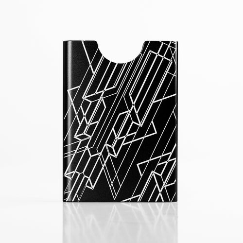 Black Think King slim card holder with Art Deco engraved graphics