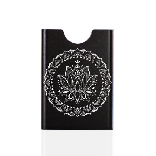 Black Thin King credit card case with engraved mandala graphics