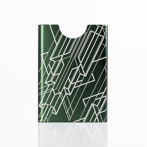 Thin King credit card case in Bullitt Green color with engraved Art Deco graphics