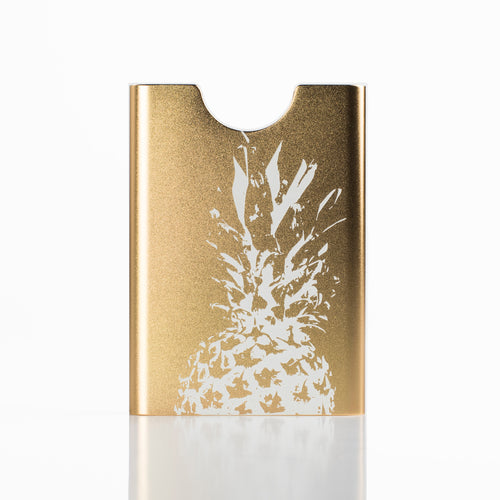Thin King card holder in champagne colour with pineapple laser engraving