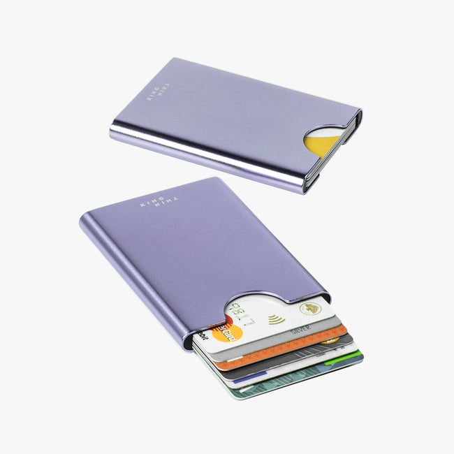 Thin King RFID safe metal card case in lavender colour