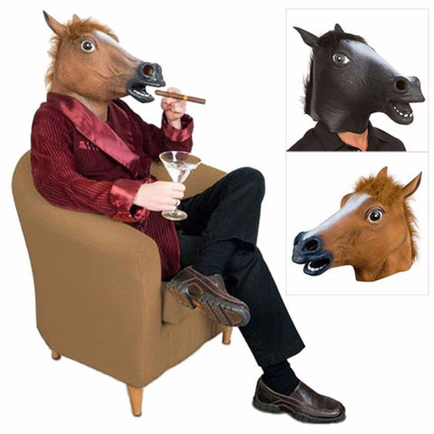 Latex Halloween Black Horse Mask