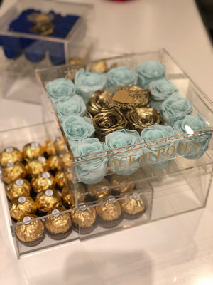 Large Clear box with Gold Roses & Chocolates