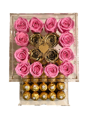 Large Acrylic box with Gold Roses & Chocolates
