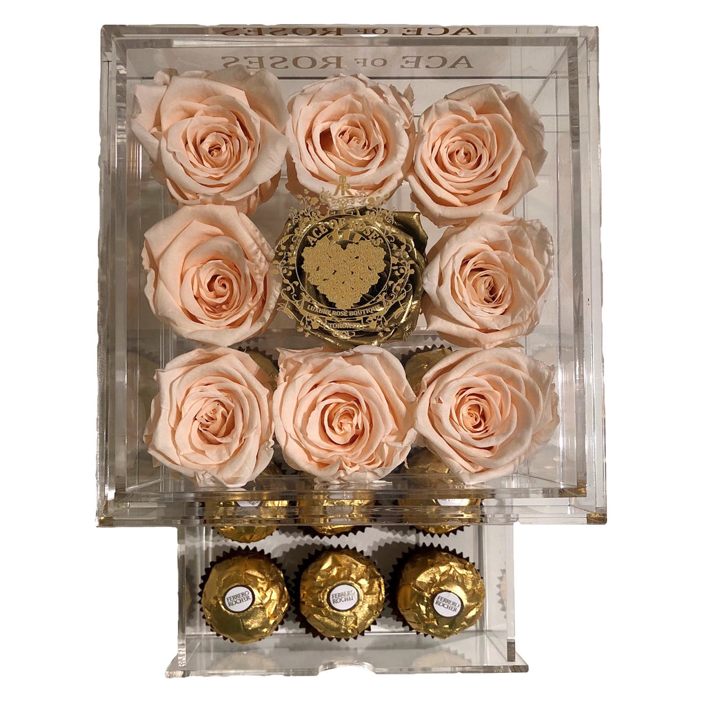 Small Clear box with Gold Rose & Chocolates