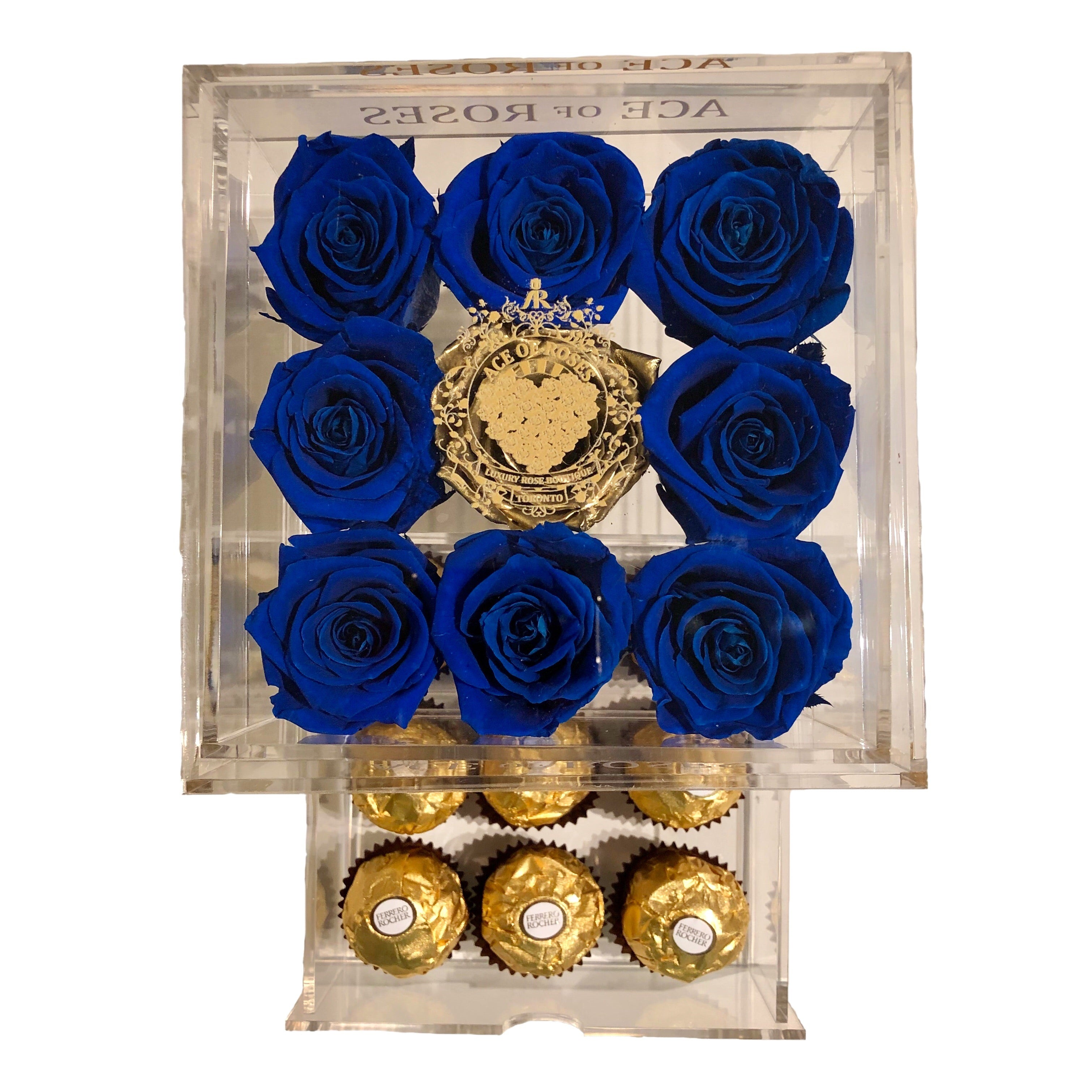 Clear box with Gold Rose & Chocolates (SMALL)