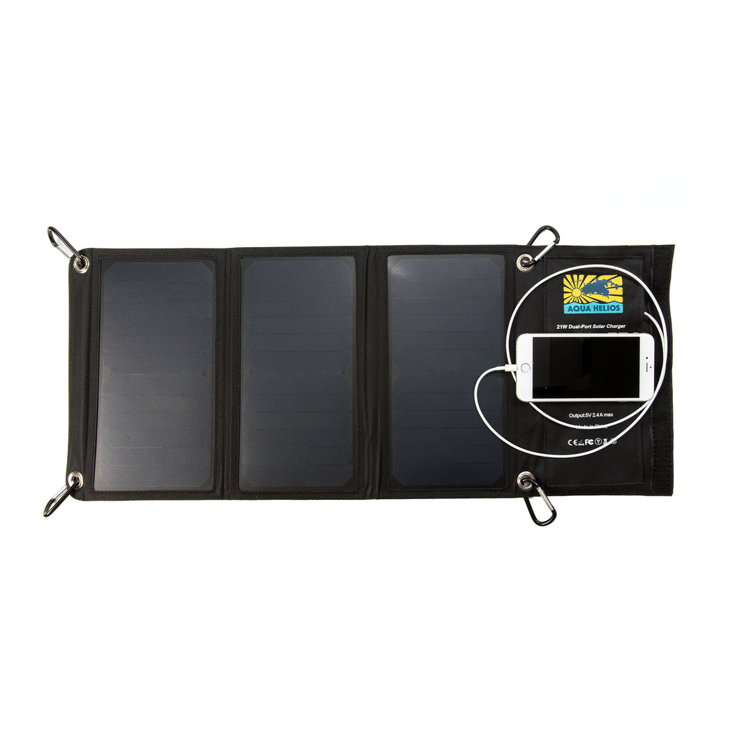 Aqua Helios Foldable Solar USB Charger - Open State