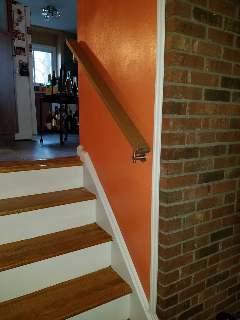 Modern Square Flat Wall Mounted Stair Railing In Aluminum