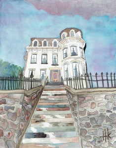 ASCENDING STAIRS TO VICTORIAN GALENA HOME - PRINT