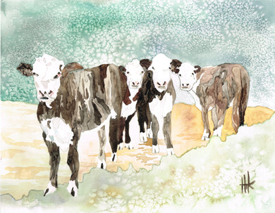COWS IN PASTURE - PRINT
