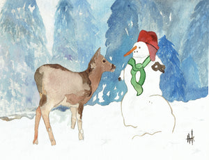 DEER AND SNOWMAN