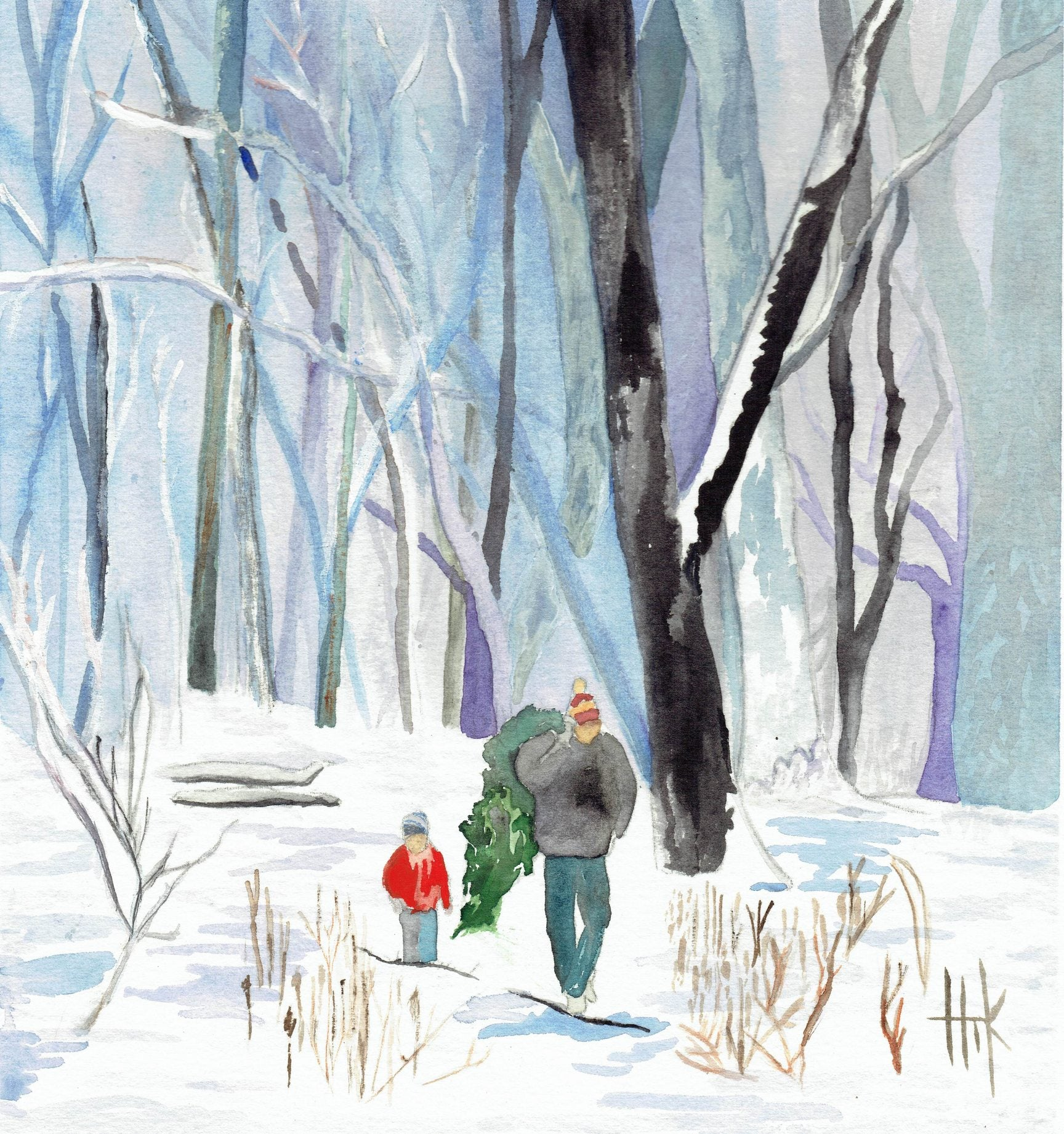 FATHER AND SON IN WOODS - CARDS