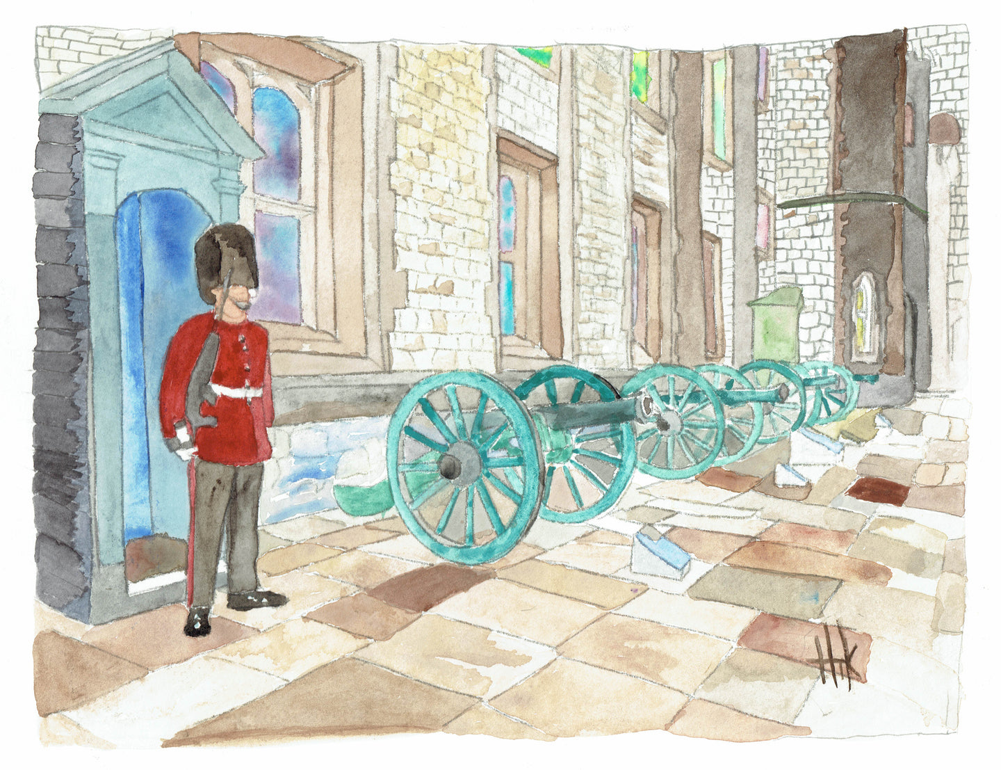 LONDON TOWER CANNONS - PRINT