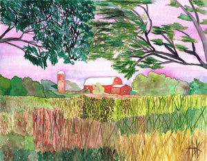 RED BARN IN WHEAT FIELD - PRINT