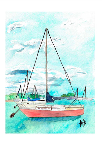 RED SAILBOAT AT ANCHOR - CARDS