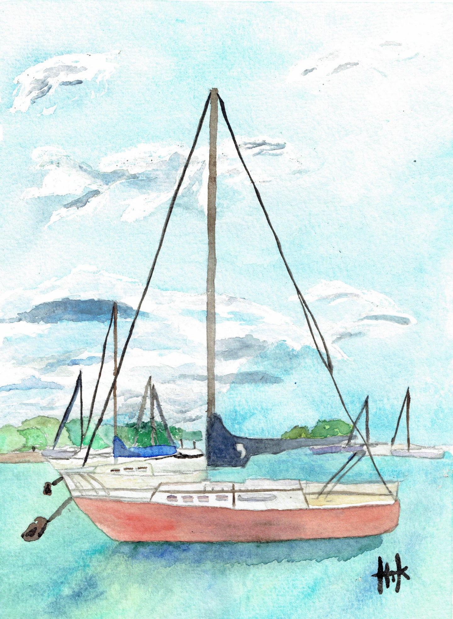 RED SAILBOAT AT ANCHOR - PRINT