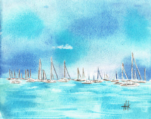 SAILBOATS AT ANCHOR - PRINT