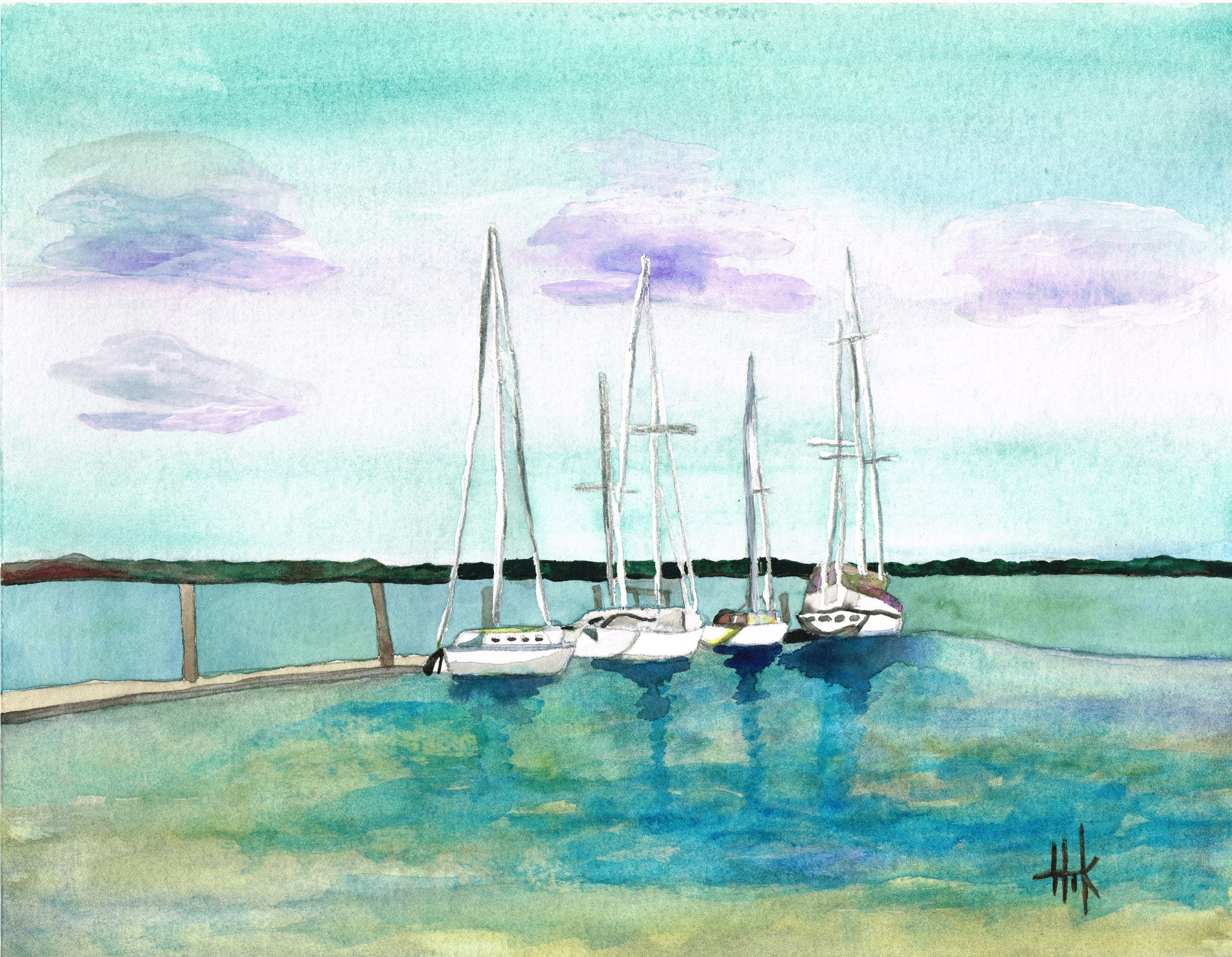 SAILBOATS AT DOCK - PRINT