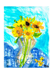 VASE OF YELLOW FLOWERS - CARDS
