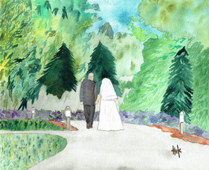 WEDDING COUPLE WALKING ON PATH