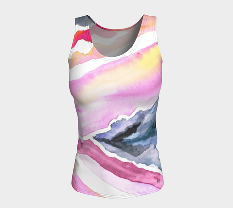 Fitted Tank (Long) - Psychedelic Spray