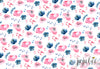 Pink and Blue Floral Backdrop
