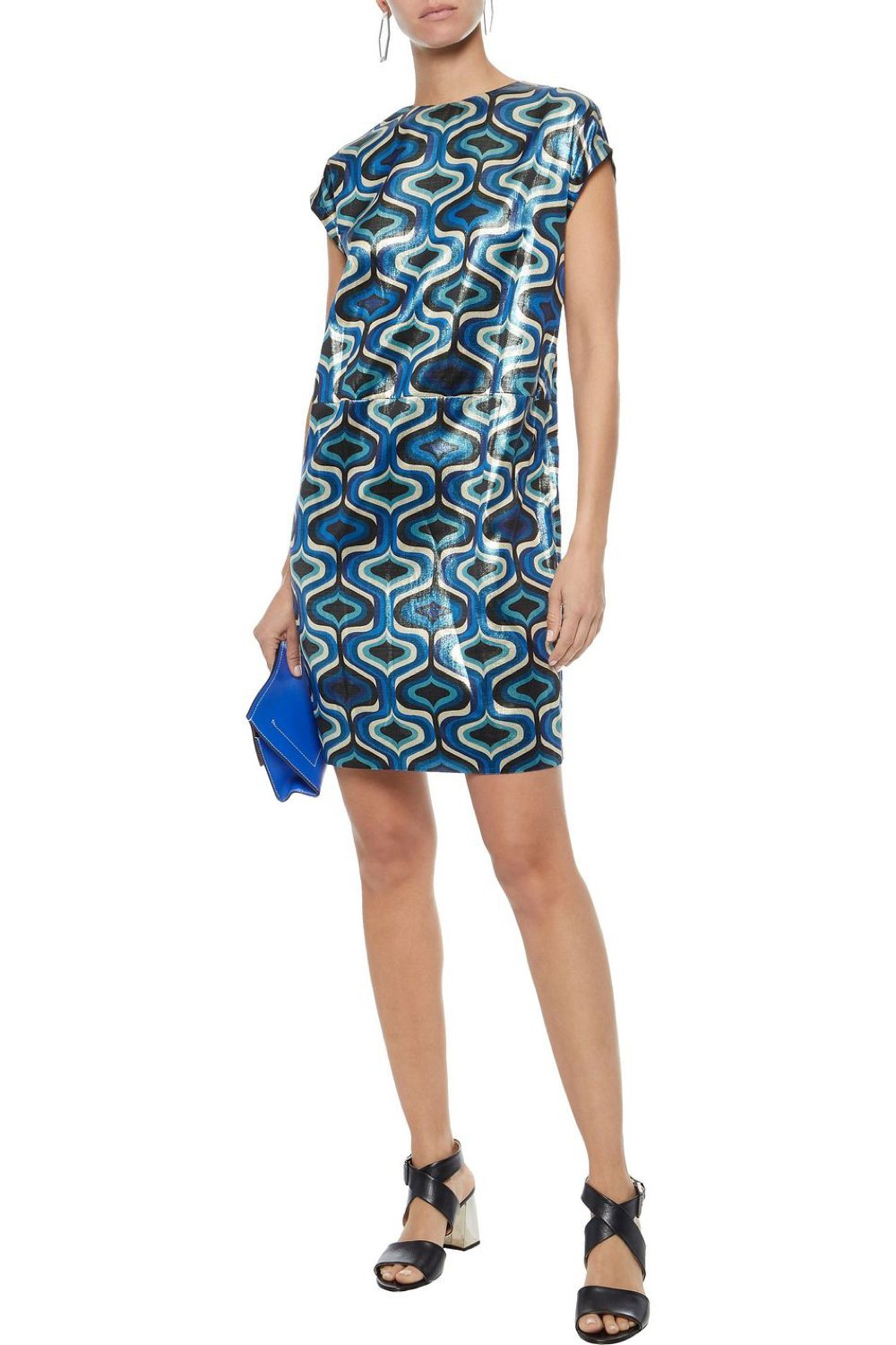 Blue Printed Lamé Flared Dress - The Bobby Boga