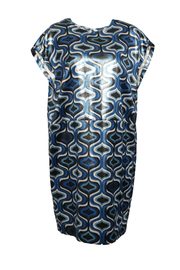 Blue Printed Lamé Flared Dress