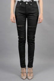 Wax Coated Ripped Jeans