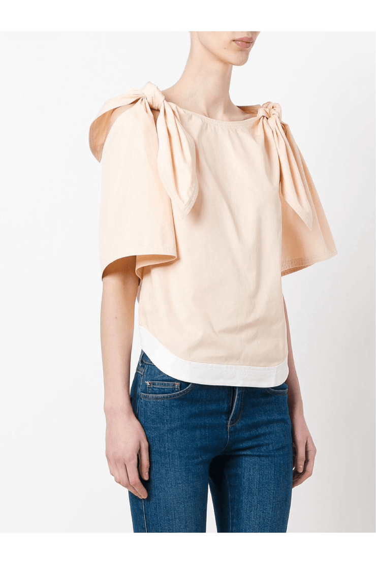 Cotton Twill Tie Shoulder Top