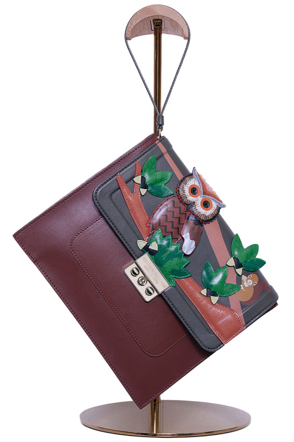 Owl Look Leather Envelope Clutch - The Bobby Boga