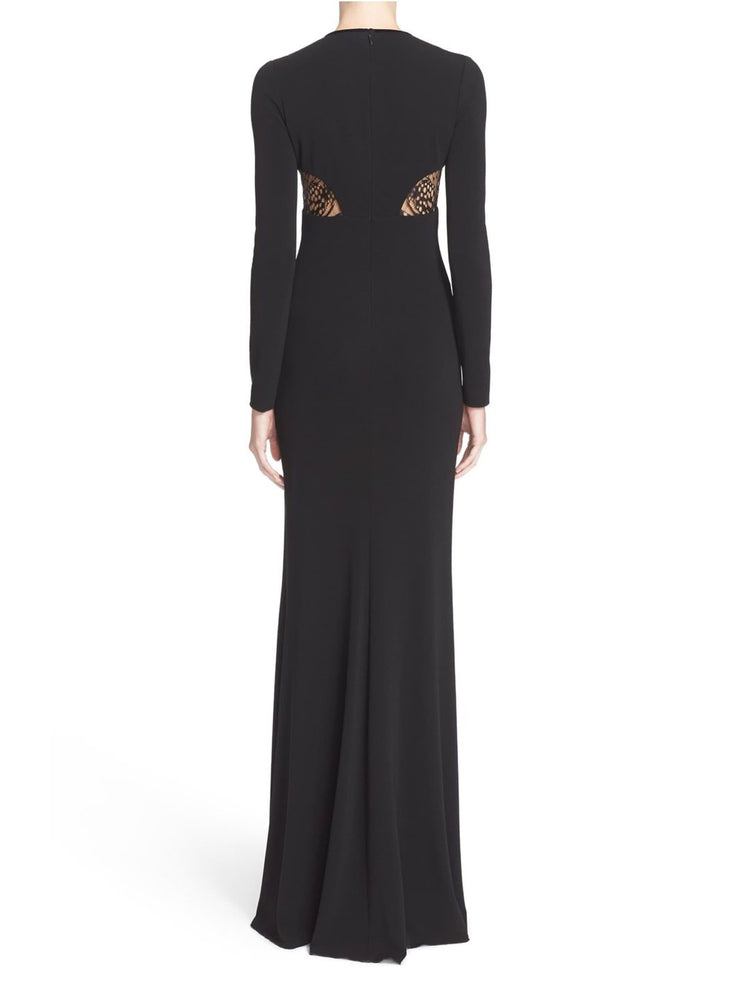 Crepe Jersey Butterfly Lace Inset Gown-THE BOBBY BOGA