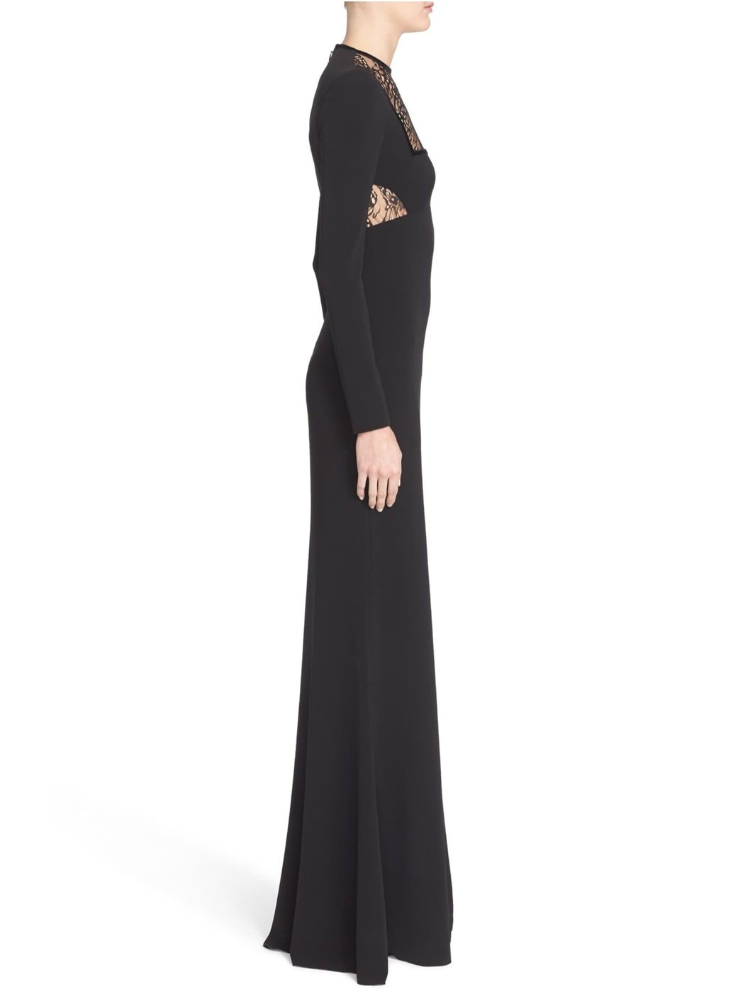 Crepe Jersey Butterfly Lace-Inset Gown - The Bobby Boga