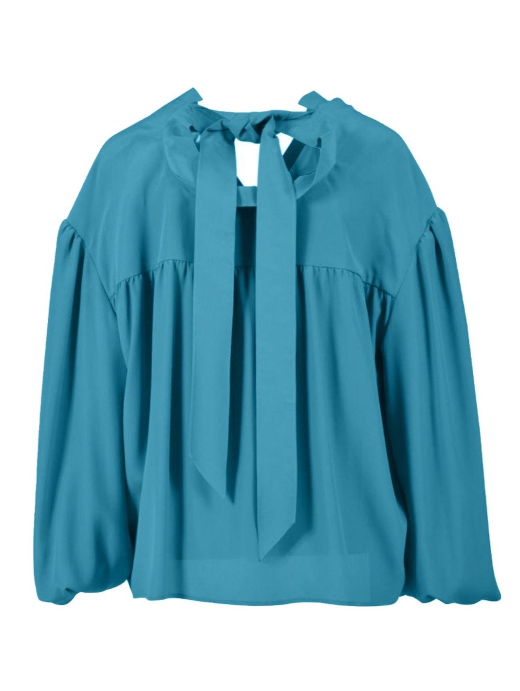 Balloon-Sleeve Crepe Blouse - The Bobby Boga