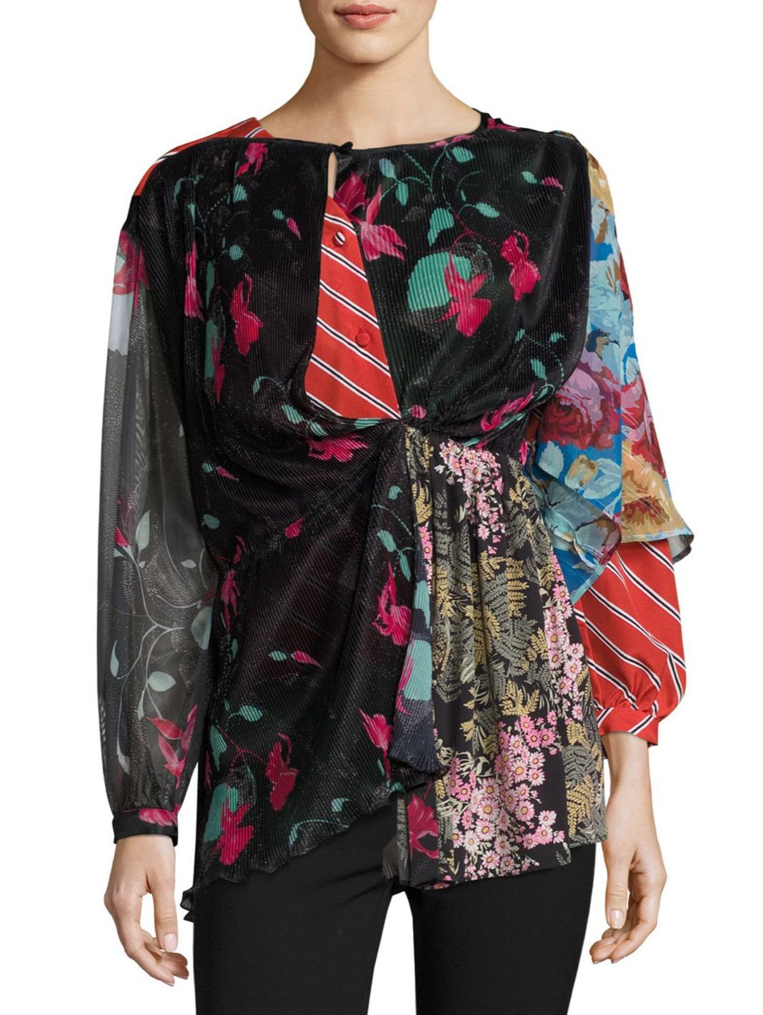 Kaleidoscope Silk-Blend Blouse - The Bobby Boga