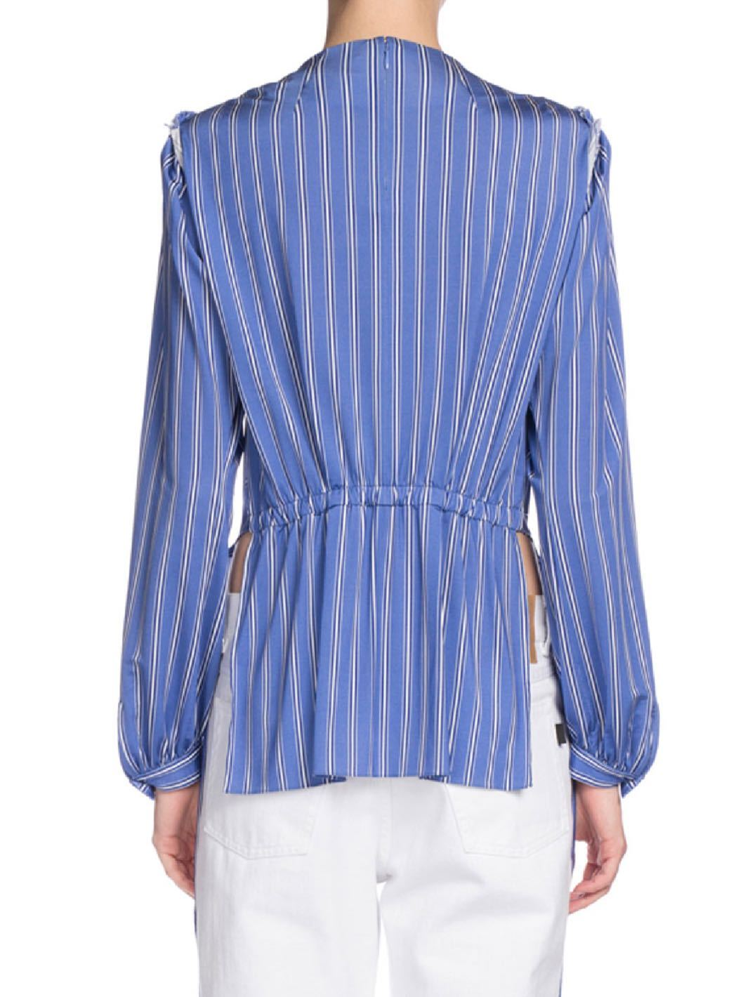 Asymmetric Long-Sleeve Striped Jersey Blouse - The Bobby Boga