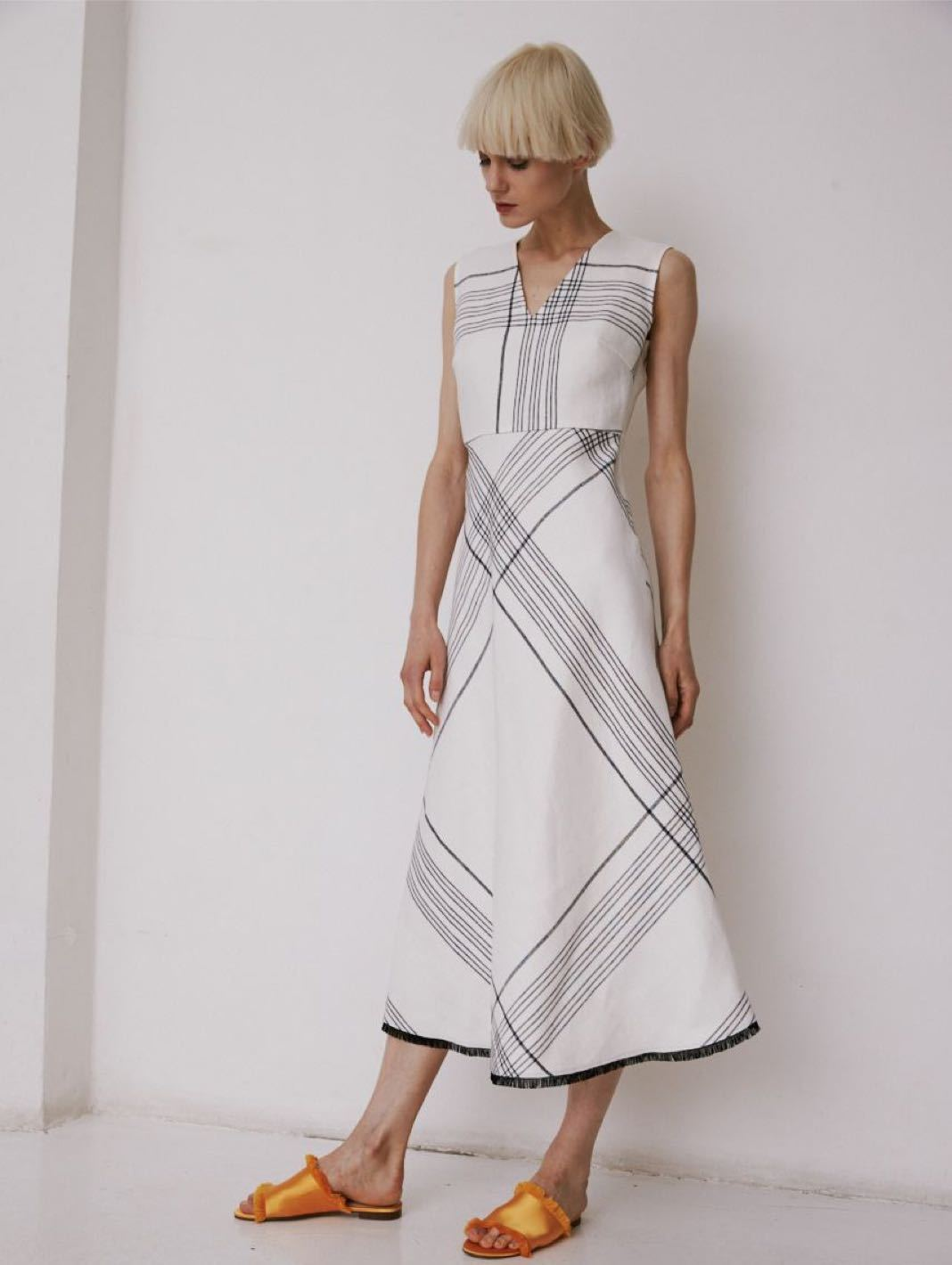 Checkered Linen Dress - The Bobby Boga