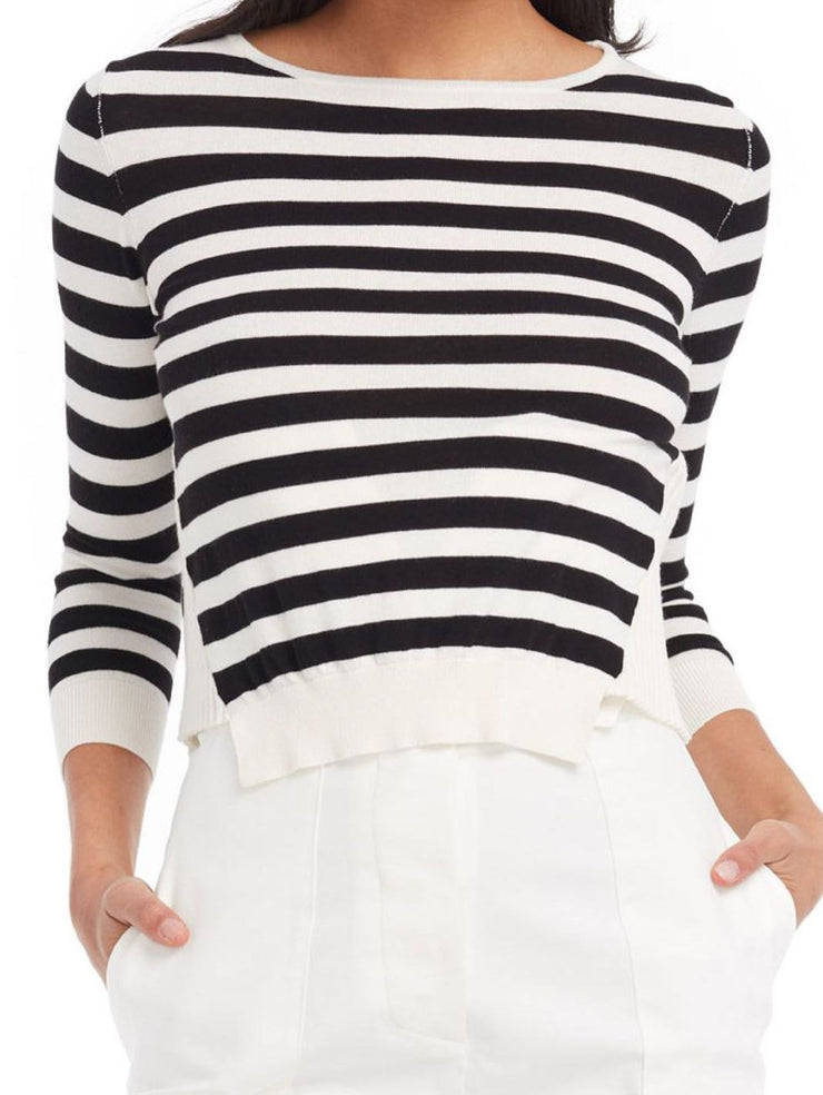 Chicca Lualdi BeeQueen Side Paneling Striped Knit Top-THE BOBBY BOGA