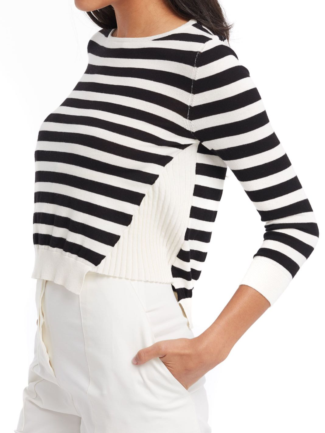 Side Paneling Striped Knit Top - The Bobby Boga