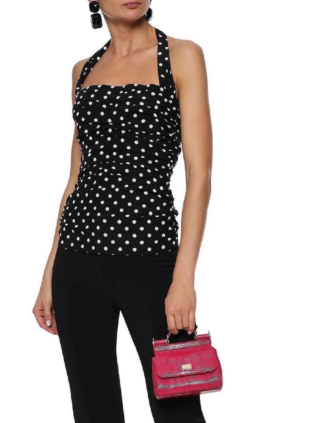 Ruched Polka-Dot Stretch-Silk Halterneck Top - The Bobby Boga