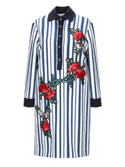 Femme Striped Embroidered Shirt-Dress